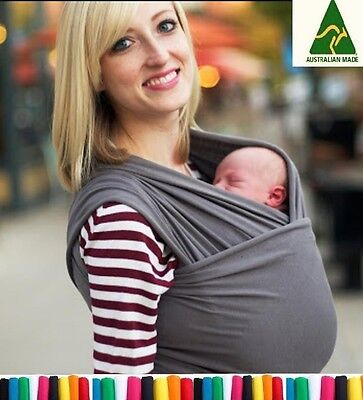 Liberty sling Baby cotton stretchy wrap carrier in CHARCOAL, Great Breastfeeding