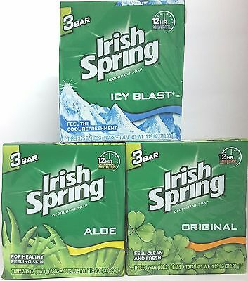 Irish Spring Deodorant Soap Bar / Original / Aloe / Icy Blast** UK SELLER**