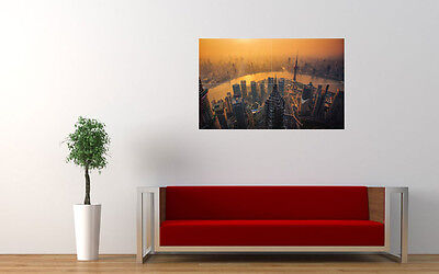 """SHANGHAI SKYLINE LARGE ART PRINT POSTER PICTURE WALL 33.1"""" x 20.7"""""""