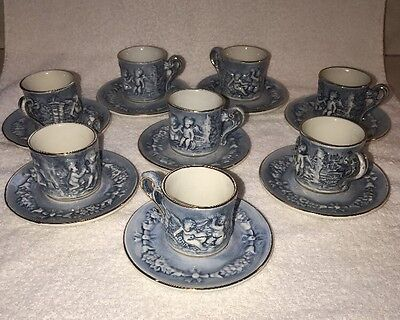 Set Of 8  Rare? R. Capodimonte Blue Cherub Cup ~Saucer Gold Trim Embossed Vintag