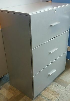 50 avbl Haworth FILING CABINET 3 DRAWER LATERAL  OFFICE STATIONERY TOOL STORAGE