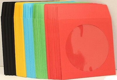 1000 ASSORTED COLOR CD DVD Paper Sleeve Envelope w/ Window Flap