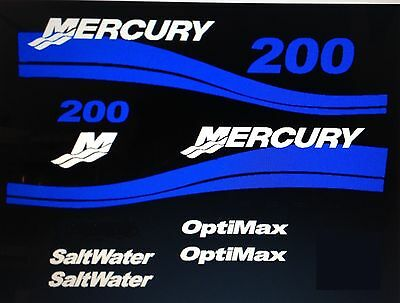 Mercury Saltwater Optimax Outboard MARINE VINYL decal Kit 135 - 225 pick hp