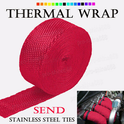 """RED Manifold Header Exhaust Thermal Heat Tape Wrap + Ties 2"""" x 50FT Fit Kia"""