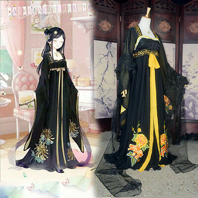 China Fairy Girl's Han Fu Tan Dynasty Yellow&Black Kimono Chiffon Cosplay Dress