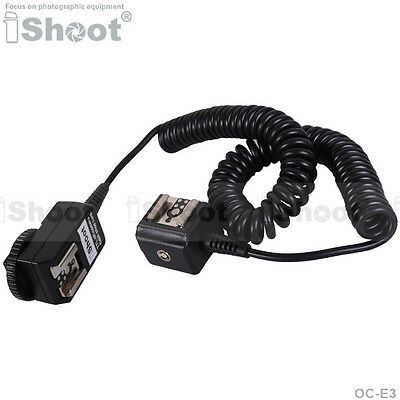 Flash SYNC E-TTL Off-Camera Dual Hot-Shoe Cord Cable for Canon OC-E3 Speelite