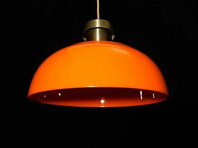 Gerald Thurston / Lightolier Modern Orange Shade/aluminum Pendant Ceiling Lamp