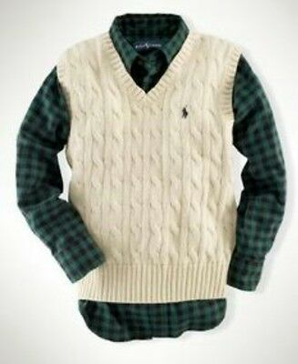 Polo Ralph Lauren Sweater Vest Boys Size 7 Small WHITE Cable Knit Cotton Nwot