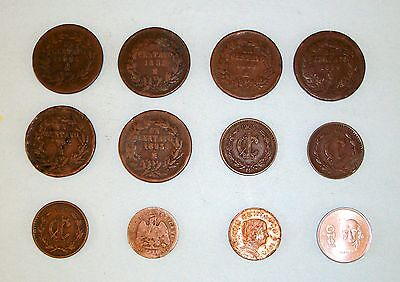 Lot of (12) old Mexican coins: large & small un centavo, 5 centavos, 10 centavos