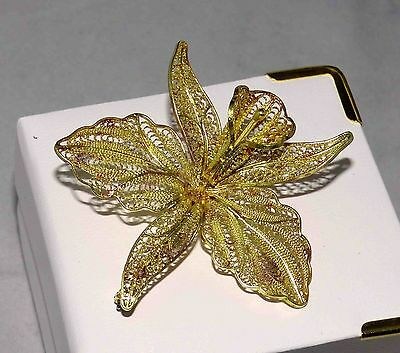 RARE ANTIQUE SOLID 22CT YELLOW GOLD FILIGREE ORCHID Brooch Pin Wt10 Grams
