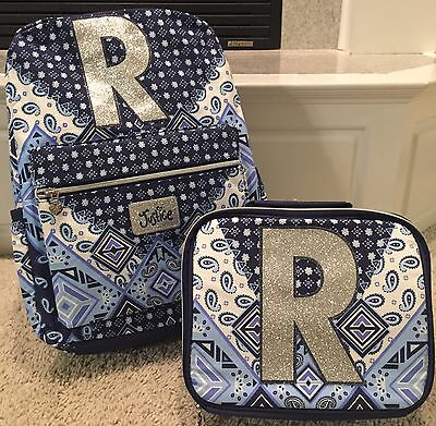"""Justice NWT Bandana Initial """"R"""" Backpack & Lunch Tote.  Cute!"""