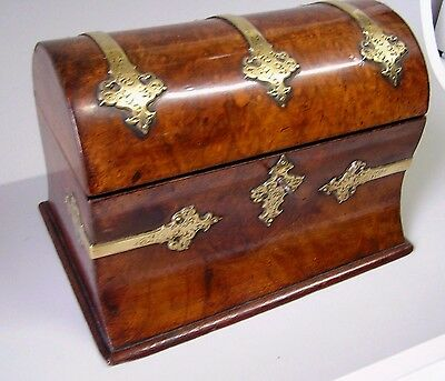 SUPERB WALNUT DOMED TEA CADDY with BRASS STRAPPING 1860