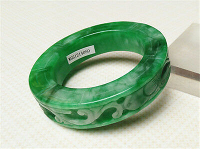 NEW Certified Natural Carving jadeite light green Emerald JADE Bracelets 54.5mm