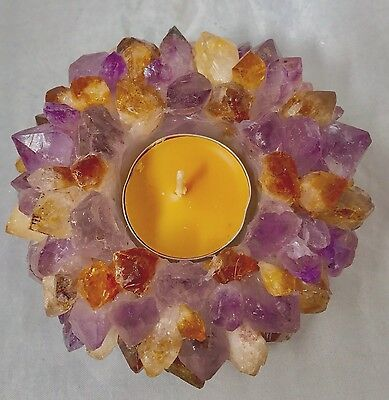 Amethyst/Citrine TeaLight candle Holder Tea light Crystal Mix Gemstones