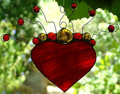' IN LOVE ' Real Stained Glass HEART SHAPED SUNCATCHER Ready to Hang RED & AMBER