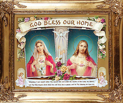 Large Home Blessing Sacred Heart Of Jesus & Mary Framed Picture - Others Listed