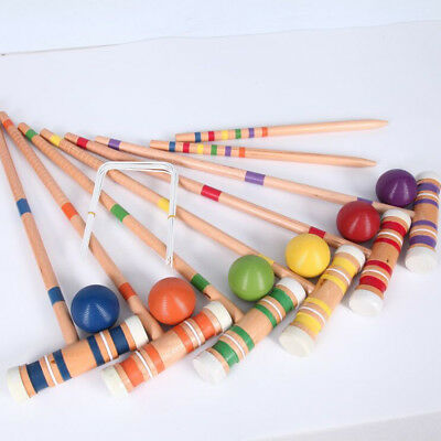 Croquet Wooden Outdoor Backyard Games Set-Up to 6 Players 6 Mallets 66cm W Bag
