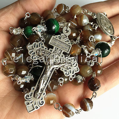 TIBET AGATE & 925 Silve TIGER EYE BEADS ROSARY CROSS CRUCIFIX CATHOLIC NECKLACE