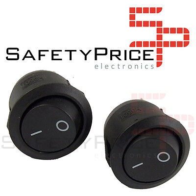 2x Switch ON OFF Round Black PANEL 220v 250v 10A recessed button