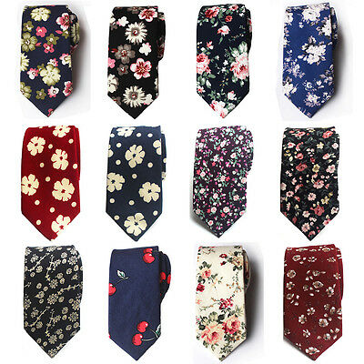 Mens Floral Paisley Cotton Skinny 6cm Necktie Party High Quality Tie HZ224