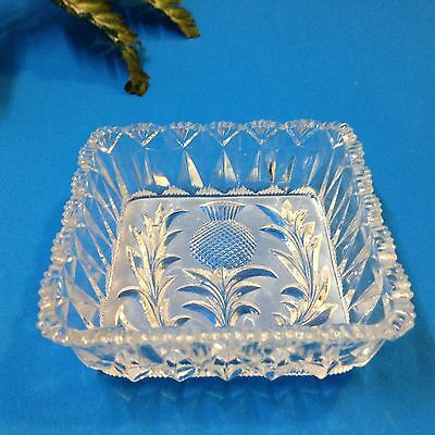 Thistle - Square Clear Cut Glass Trinket / Butter / Jam Dish
