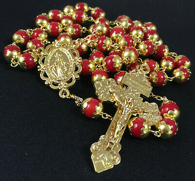 Gold Real RED CORAL JADE BEADS 5 DECADE rosary jesus cross Catholic necklace BOX