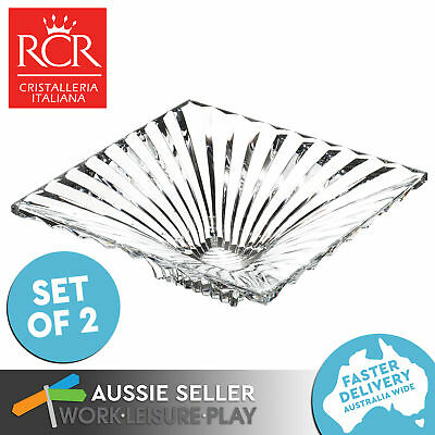 2x RCR Crystal Table Centerpiece Centrotavola Premium Italian Crystal Glass