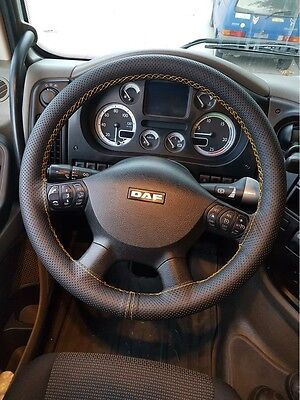 For Daf Xf105 06-14 Perforated Leather Steering Wheel Cover Yellow Double Stitch