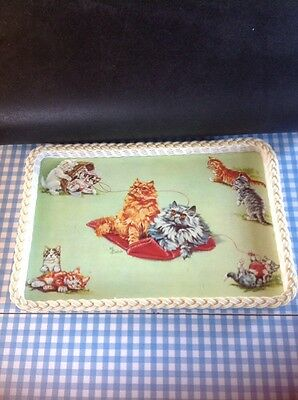 Vintage Serving Tray 1950s Kitsch Cats At Play Retro Woven Plastic
