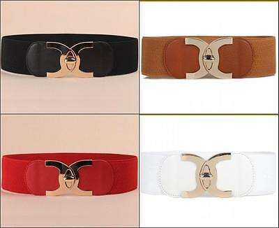 New Wide Stretch Belt Women Fashion Metal Buckle Belt Elastic Waistband for Girl