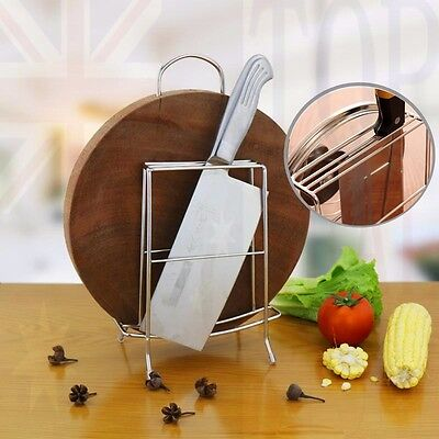 Stainless Steel Knife Cutting Board Pot Lid Holder Stand Rack Kitchen Organizer