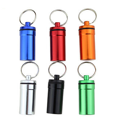 Travel Aluminium Pill Box Case Holder Container Capsule Bottle Keyring Keychain