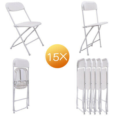 15 Plastic Folding Chairs Wedding Banquet Seat Premium Party Event Chair White