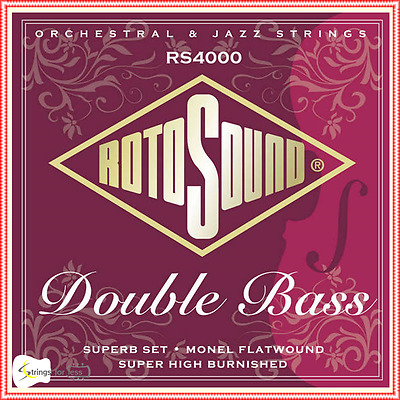 RotoSound Superb RS4000 Double Bass Strings Set 3/4 Size Monel Flatwound