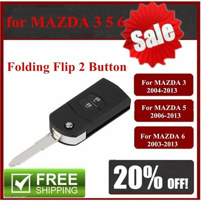 AU Folding Flip 2 Button Remote Key Fob Case Replace Shell fit for MAZDA 3 5 6 D