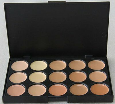 AU 15 Colors Face Powder Cream Pro Contour Makeup Concealer Palette Camouflage D