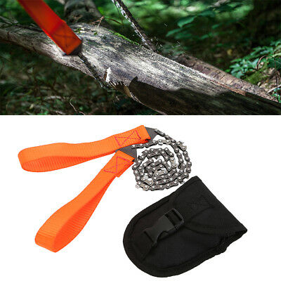 Survival Chain Saw Hand Chainsaw Emergency Camping Gear Pocket Tool Kit Pouch