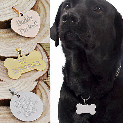 Personalised Engraved Bone ID Tag Custom Collar Identity Pet Dog Cat Name Disc