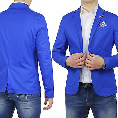 Giacca Uomo Slim Fit Cotone Sartoriale Blu Navy Casual Elegante Made In Italy