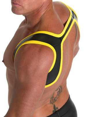 665 Leather Neoprene Slingshot Harness Black/Yellow S/M Cool4Guys