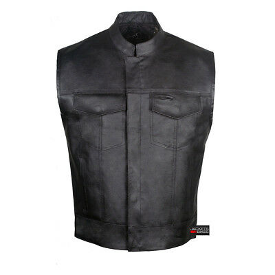 SOA Sons of Anarchy Men's Leather Vest TWO Concealed Carry Pockets Outlaws
