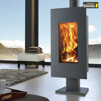 Wood Burning Stove Akita Curved Style Multi Fuel Contemporary Modern Stoves