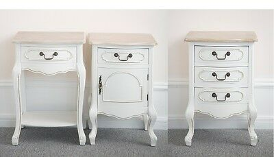 Shabby Chic Bedside Table Furniture Vintage Antique White Wooden Cabinet Storage
