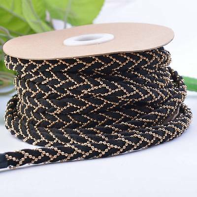 Black Velvet Ribbon and Beads Chain Weaving 8mm For Bracelet Bag DIY Decoration