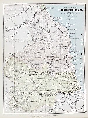 OLD ANTIQUE MAP NORTHUMBERLAND c1882 by G PHILIP & SON PRINTED COLOUR