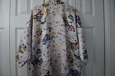 Oriental Silk Collection Kimono with Flowers and Geisha Design size F2