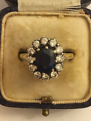 Victorian  Sapphire And Diamond Extra Large Cluster Ring In Yellow Gold Antique