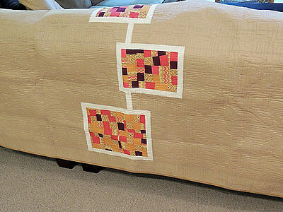 Modern Quilt / Bed Scarf/ Tan Neutral / Brights