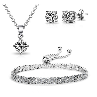 3Pc. Double Wrap Solitaire Friendship Set with Crystals from Swarovski®