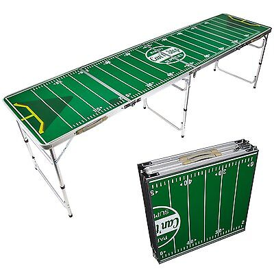 Portable Beer Pong Table 8' Foldable Tailgate Aluminum Outdoor Indoor Pool Party
